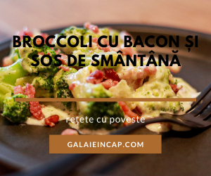 reteta low-carb broccoli cu bacon si sos de smantana